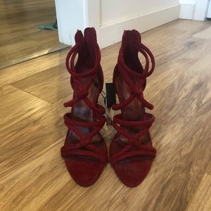 Brand new Zara red faux suede heels size 38